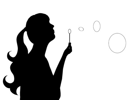 blower: Vector illustration of girl with bubble blower