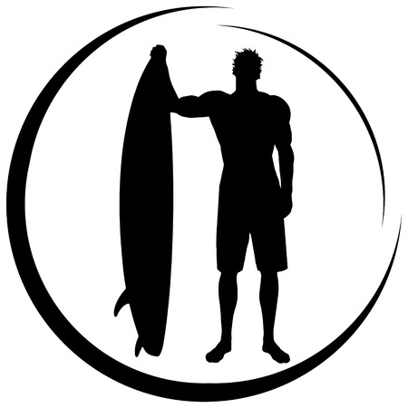 surfer silhouette: vector silhouette surfer on white background