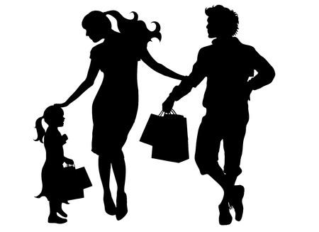 black family: black vector silhouette family on white background Illustration