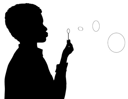 blower: Vector illustration of boy with bubble blower Illustration