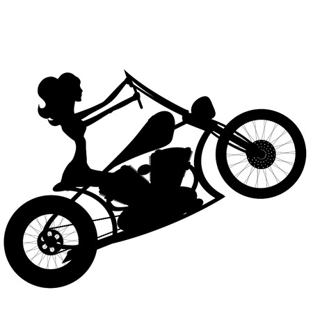 biker girl: vector silhouette motorcycle and woman on white background