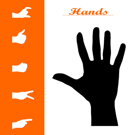 Vector isolated collection of different hand silhouettes