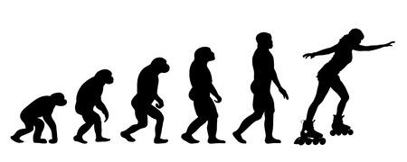 inline skating: Vector evolution sport silhouette on white background