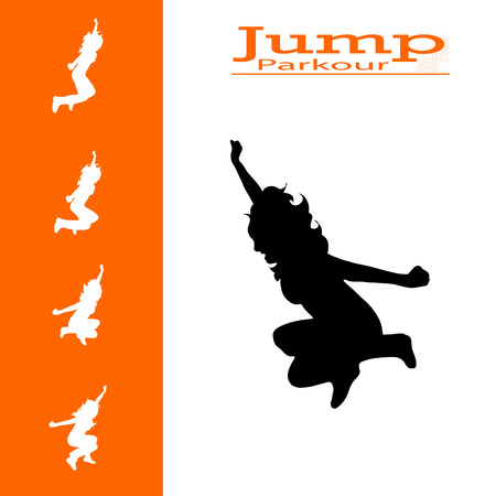vector isolated collection of woman who jumps Illustration