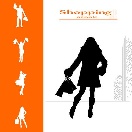 siluetas de mujeres: aislado colección de vectores de compras de la gente siluetas