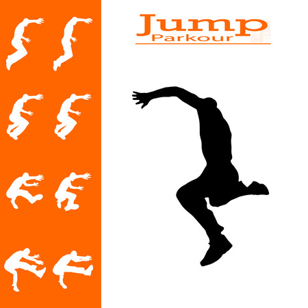 jumps: vector isolated collection of man who jumps
