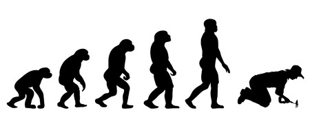 evolve: Vector evolution people silhouette on white background Illustration