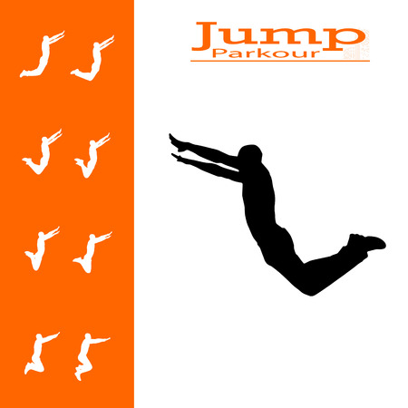 young black man: vector isolated collection of man who jumps
