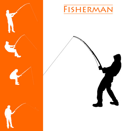Vector isolated collection of different fisherman silhouettes Illustration