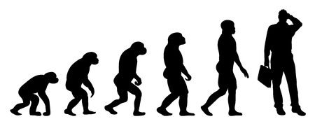 evolve: Vector evolution business silhouette on white background Illustration