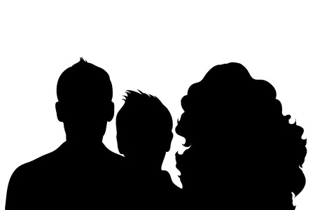 anonym: Vector silhouette of family on white background.
