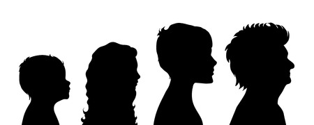 age old: Vector silhouette of woman on white background.