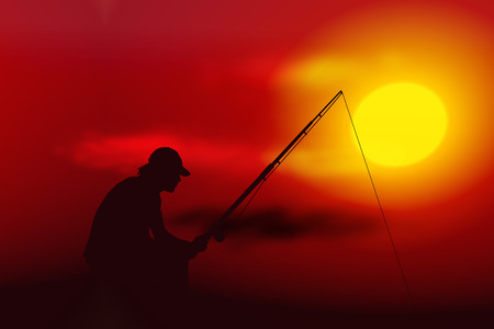 Vector illustration sunset with silhouette of fisherman