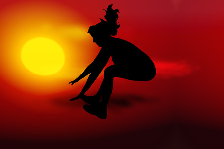 Vector illustration sunset with silhouette of woman jump