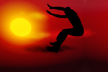 Vector illustration sunset with silhouette of man jump Illustration