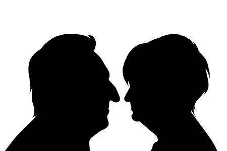 anonym: Vector silhouette of couple on white background. Illustration