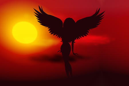 golden dusk: Vector illustration sunset with silhouette of fairy