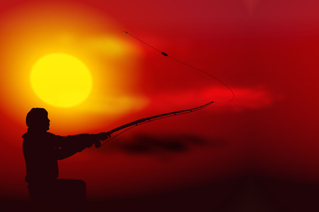 recreational fishermen: Vector illustration sunset with silhouette of fisherman