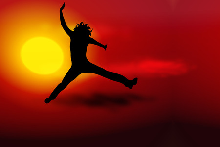 woman jump: Vector illustration sunset with silhouette of woman jump
