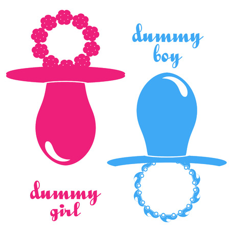 babys dummies: color illustration dummy boy and girl pink and blue Illustration