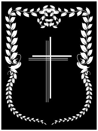 kruzifix: Vektor-Illustration von Kreuz auf schwarzem Hintergrund