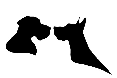nice stay: Vector silhouette of dog on a white background.