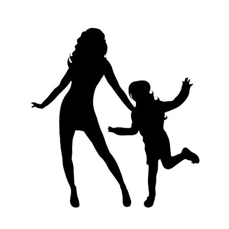 familia animada: Vector silueta de la familia en el fondo blanco. Vectores