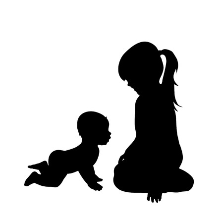 siblings: Vector silhouette of siblings on white background.