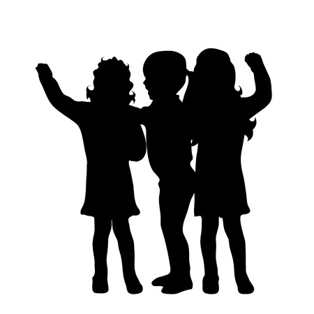 sibling: Vector silhouette of friends on white background.