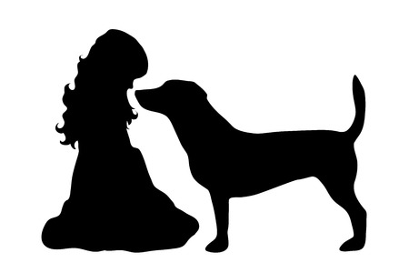 doggie: Vector silhouette of girl on white background. Illustration