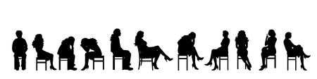profile silhouette: Vector silhouette of people on white background.