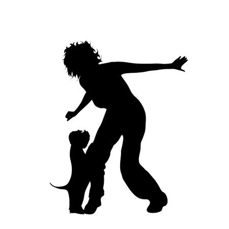 Vector silhouette di donna con il cane su sfondo bianco.