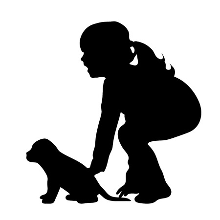 fondle: Vector silhouette of girl on white background. Illustration