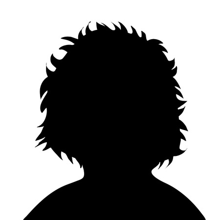 Vector silhouette of child on white background.