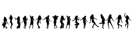 sexy girl dance: Vector silhouette of girls on white background.