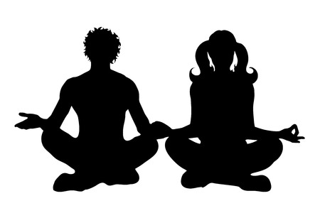 Vector silhouette of couple on white background. Illustration