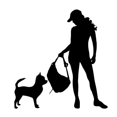 doggie: Vector silhouette of woman with dog on white background.