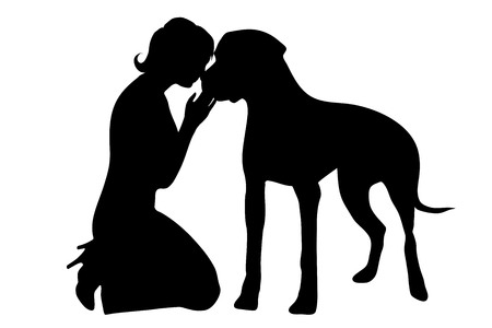 fondle: Vector silhouette of woman with dog on white background.