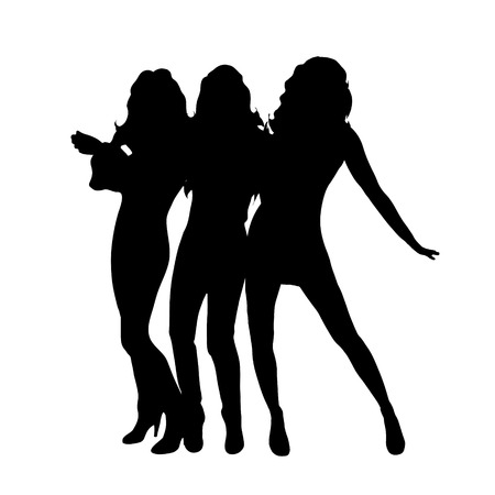 sexy young couple: Vector silhouette of girls on white background.