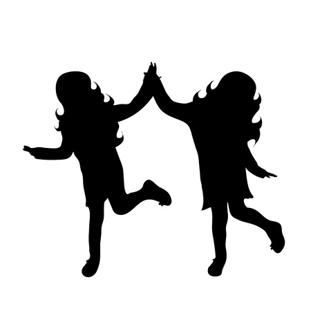 little girls: Vector silhouette of friends on white background.
