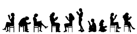 nice body: Vector silhouette of people on white background.