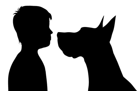 fondle: Vector silhouette of boy with dog on white background.