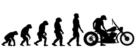 Vector evolution motorbike silhouette on white background Illustration