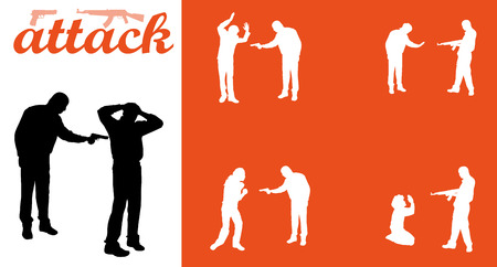 victim war: Vector isolated collection of attack people silhouettes
