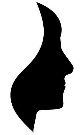 human face: vector silhouette human on white background