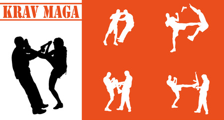 victim war: Vector isolated collection of krav maga silhouettes