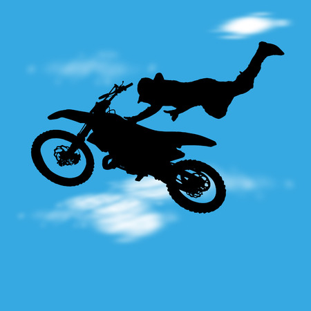 Vector illustration with silhouette of motocross jump