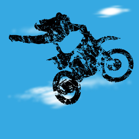 fmx: Vector illustration with silhouette of motocross jump