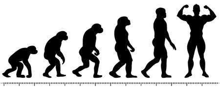 Vector evolution man silhouette on white background