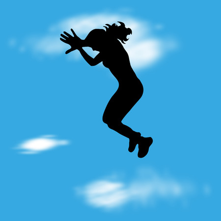 Vector illustration with silhouette of girl jump